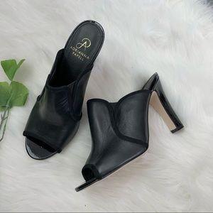 Adrianna Papell | Black Peep Toe Mule Heels Slide